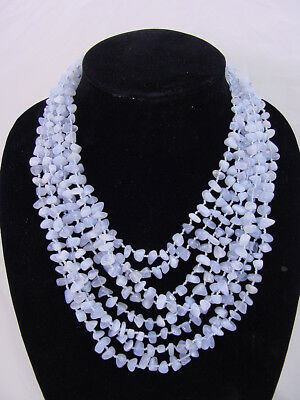 BUTW blue chalcedony tumbled multi strand necklace 2258P