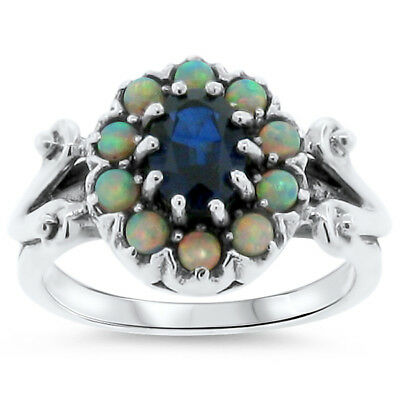 Antique Victorian Style Lab Sapphire & Opal 925 Sterling Silver Ring Size 7,#311