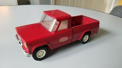 Vintage 1960s TONKA Red Jeep Pickup Truck Pressed Steel - 52030 Working Tailgate