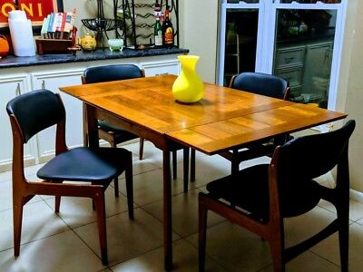 Mid Century Benny Linden Danish Teak Wood Dining Table And 4 Chairs