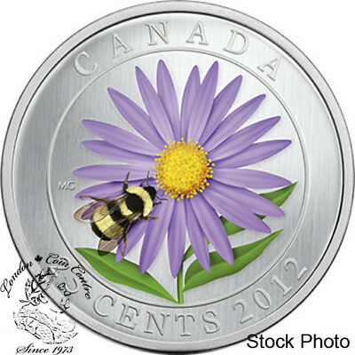 Canada 2012 25 Cents Aster with Bumble Bee