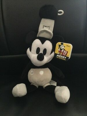 Disney Mickey Mouse 90th Anniversary Steamboat Willie Bean Plush NEW