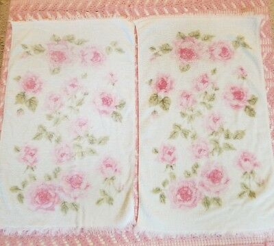 Vintage Fieldcrest Hand Towels Pink and White Floral Shabby Chic French Cottage