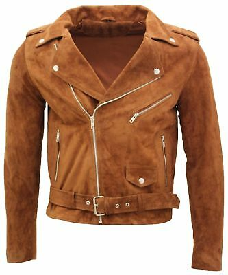 Nwt Guess Mens Faux Suede Asymmetrical Zip Moto Jacket M Brown Msrp