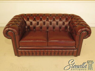 L38830: Brown Leather Tufted Chesterfield Love Seat w. Bun Feet~ NEW