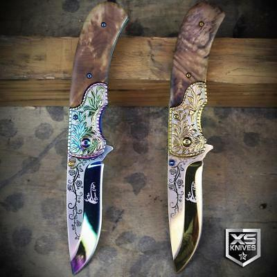 WESTERN Ornate WOOD HANDLE Cowboy Spring Assisted Pocket Knife GOLD or RAINBOW