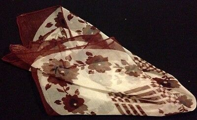 Early Vintage Lovely Silk Brown/White Handkerchief Geometrical Floral Design