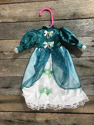 Antique/ Vintage Deep Teal Victorian Doll Dress, 12 Inches
