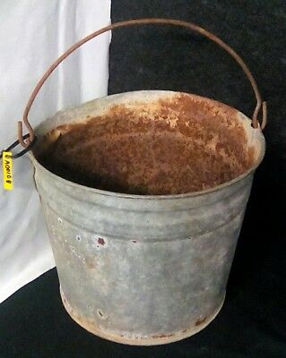 Antique Vintage Bucket Pail Galvanized Metal Primitive Rustic Farmhouse Country