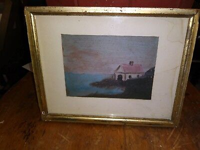 Old Framed Painting Of Seaside House Landscape c.1940