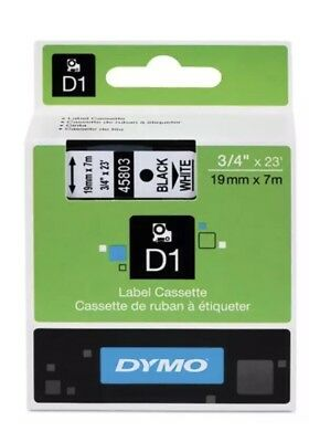 DYMO 45803 D1 Label Printer Tape 3/4 Black on White LabelManager LM 19mm, 19 mm