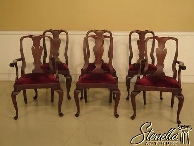 L43241E: Set Of 6 HENKEL HARRIS Mahogany #110 Queen Anne Dining Chairs