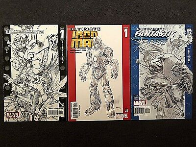 Marvel Comics Ultimate SKETCH VARIANT COVER Lot of 3!!  Ultimates 2, Iron Man +