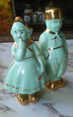 """Vintage Dutch Boy and Girl Green and Gold Salt & Pepper Shakers 5 1/2"""""""