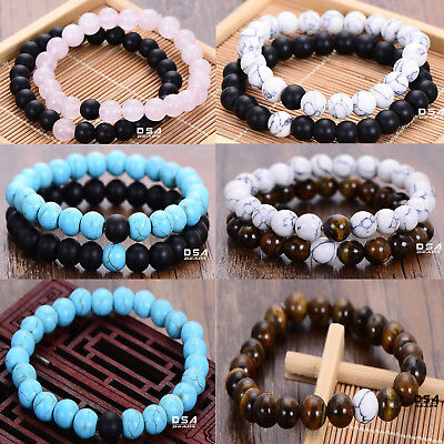 2Pcs Couple His & Hers Distance Bracelets Bead Matching YinYang Jewlery 8MM Love