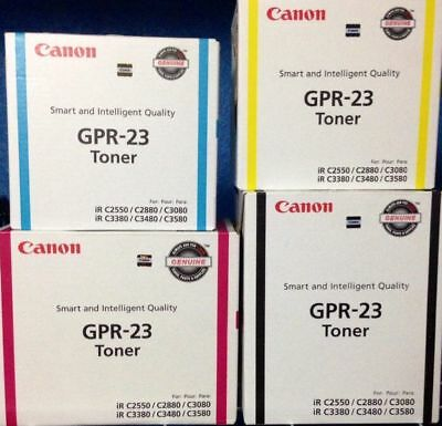 Set of 4 Genuine Factory Sealed Canon GPR-23 Blk Cyn Mag Yel Toner Cartridges
