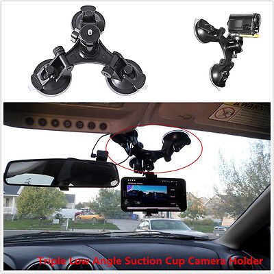 Triple 3 Suction Cup Mount Holder +Ball head Car For Gopro 2 3+ 4 5 6 Camera