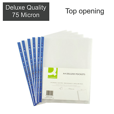 A4 Clear Plastic Poly Punched Pockets DELUXE QUALITY Wallets Sleeves 75 micron