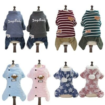 Pet Dog Winter Hoodie Coat Puppy Warm Thicken Jumpsuit Jacket Coat Clothes US