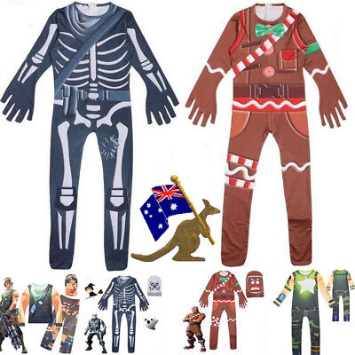 Cosplay Fortnite Skull Trooper Marauder Ginger Gunner Costume Halloween Jumpsuit