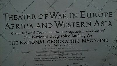 Vintage National Geographic 1942 Map of Theater of War in Europe Africa & W/Asia