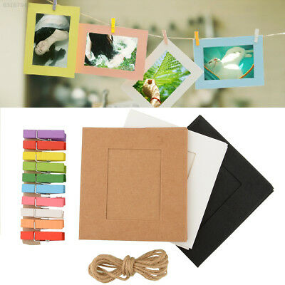 664C 10X Paper Photo Frame Art Picture Hanging Album Frame With Hemp Rope Clips