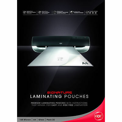 GBC Signature A4 Gloss Laminating Pouches 125 micron 25 Pack