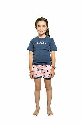 Girls PJs Size 5-8 Snugglebum Pure Cotton Short Sleeve Pyjamas Navy Hedgehog