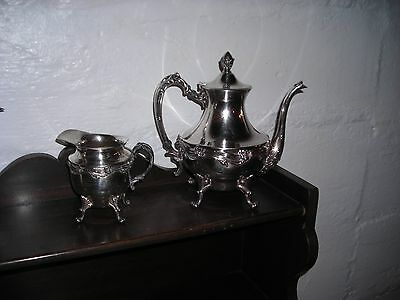 Vintage! Sheffield Plate Tea Pot No.#504 with Matching Creamer