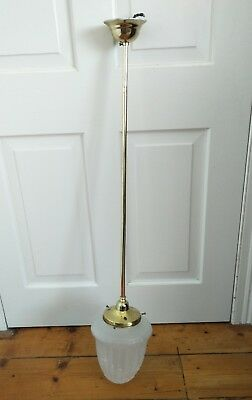 Antique Style Pendant Light Fitting With Brass Rod