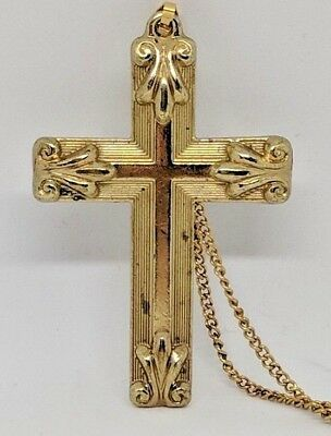 "Vintage Gold Tone Two Sided CROSS Pendant ""FAITH/GRACE"" Gold Tone Chain"