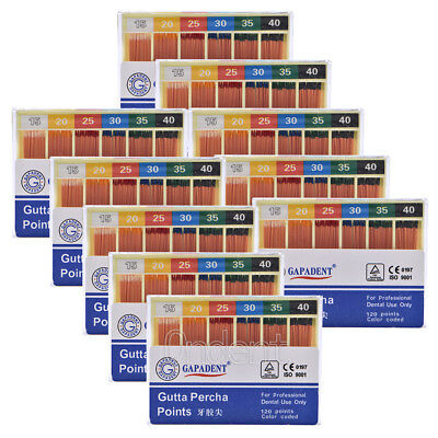 20X Dental GAPADENT Gutta Percha Points 0.02 15-40# 120Pc/kit Color Coded FDA CE