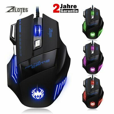 ZELOTES Wired Gaming Maus 7200 DPI 7 Tasten LED optische USB Gamer mouse DE DHL