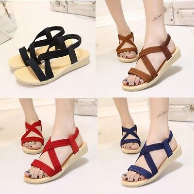 Women Summer Roman Ankle Strap Flat Heels Sandals Elastic Solid Party Shoes