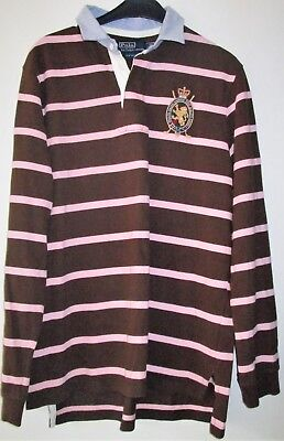 4401831f530 Polo By Ralph Lauren Beau Pull A Manches Rayé Marron Et Rose Taille L Tbe