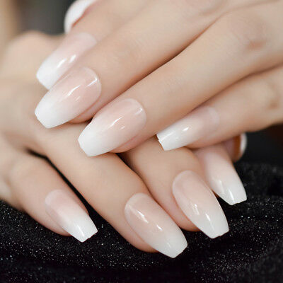 Nude Color UV gel Transparent Coffin False Nail Simple Design French Nails Z982