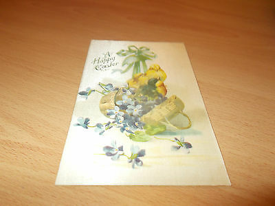 1920s VINTAGE POST CARD BABY CHICKS HAPPY EASTER.  (( EASTER ))