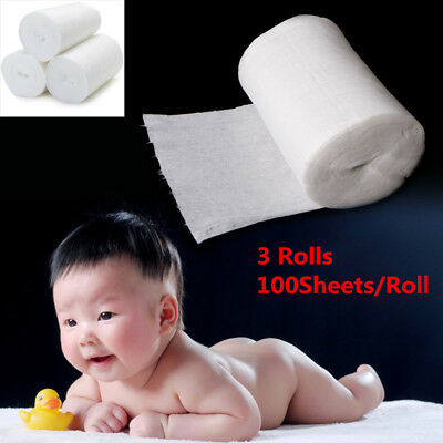 3 Rolls Baby Flushable Biodegradable Cloth Nappy Diaper Bamboo Liners 300 Sheets