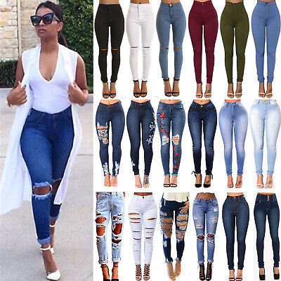 AU Womens Ripped Destroyed Jeans Skinny Denim Pants High Waist Jeggings Trousers