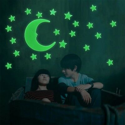 Stars Moon Glow In The Dark Fluorescent Decal Wall Stickers Home Decoration EGE