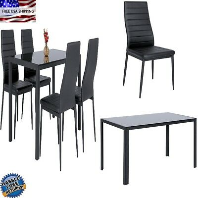 BEST Kitchen Dining Dinette Glass Top Table and Leather Chairs Set for 4 Black