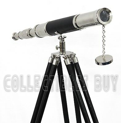 Nautical Maritime Brass Telescope Vintage Navy Wooden Tripod Leather Home Decor