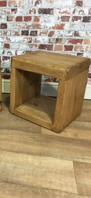Handmade Rustic Solid Pine Wood Wooden Cube Side Lamp Table  (Sold Individually)