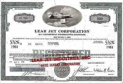 Lear Jet Corporation, 5  1/2% Debenture due 1981, 1973 (500 $) William B. Lear