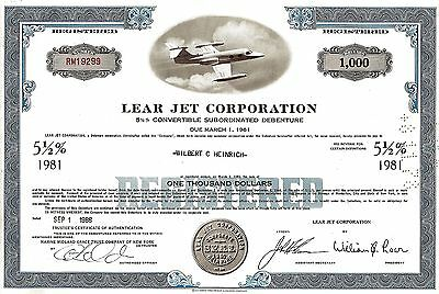 Lear Jet Corporation, 5  1/2% Debenture due 1981, 1966 (1.000 $) William B. Lear
