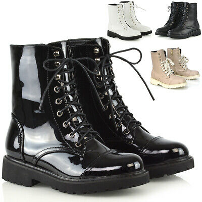 491c572f59d4a WOMENS LACE UP Ankle Boots Chunky Sole Ladies Retro Combat Goth ...