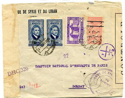 Syria 1945 multi-stamp cover scarce surcharged Obligatory Tax stamp sent Bombay