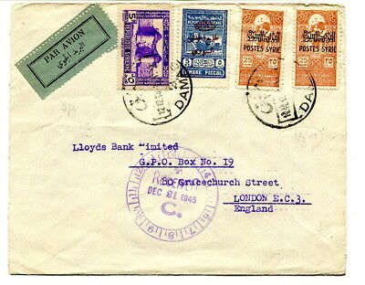 Syria 1945 multi-stamped Air Mail cover Damas to UK + various Fiscal surcharges
