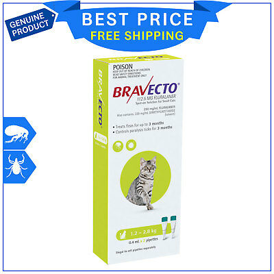 BRAVECTO Spot ON For Cats 1.2 to 2.8 Kg Green 2 Pipettes Flea Tick Prevention