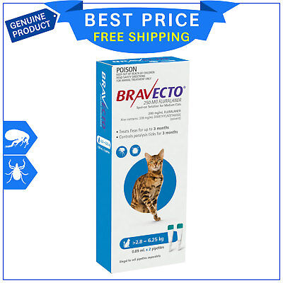 BRAVECTO Spot ON For Cats 2.8 to 6.25 Kg Blue 2 Pipettes Flea Tick Prevention